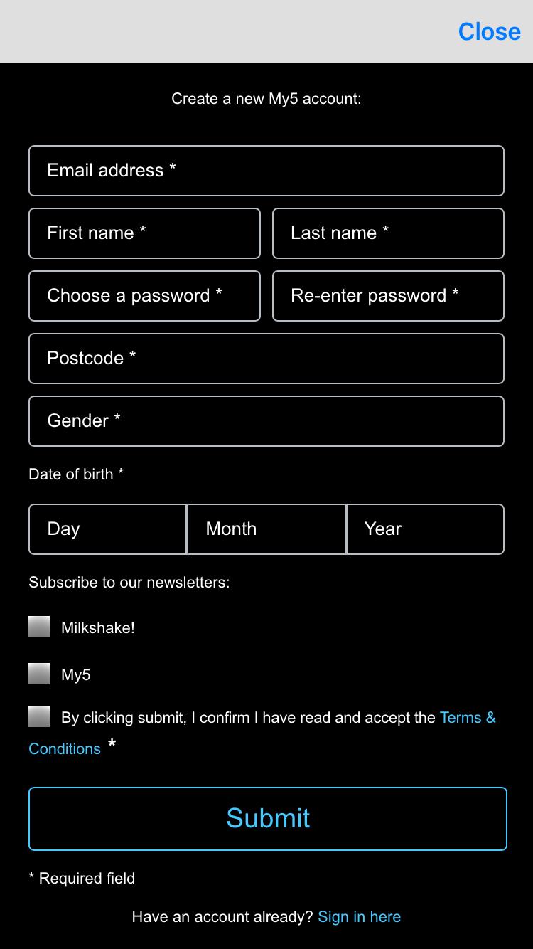Create an account iOS