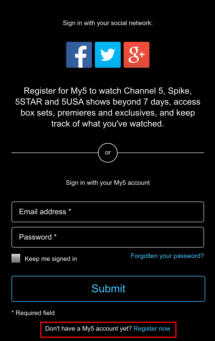 Register now iOS
